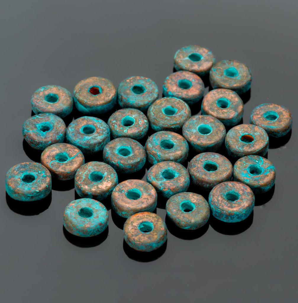 Bulk sale 6mm metalized ceramic green patina washer beads, 7 Grams