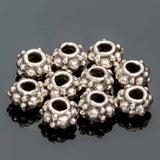20 Antique silver cast Bali style beaded beads, 5 x 3mm, Hole 2mm