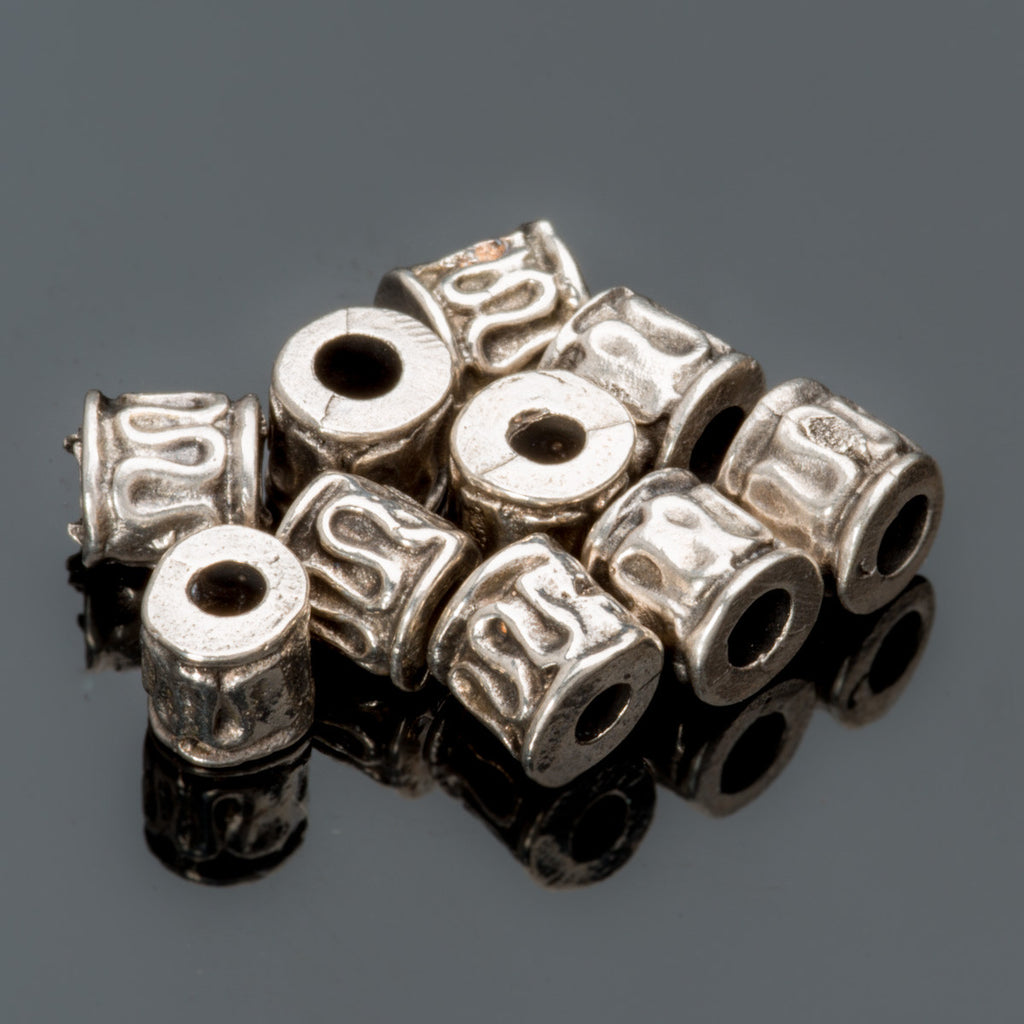 10 Antique silver cast metal small barrel beads 5mm