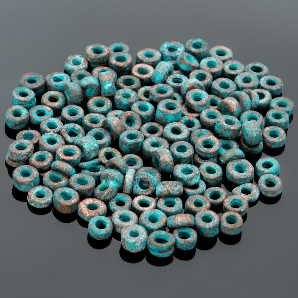20% OFF Metalized ceramic green patina 3mm seed beads, 7.5 grams