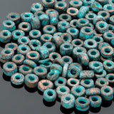 1.8 Grams Green patina metalized ceramic 3mm seed beads, 1.5mm hole