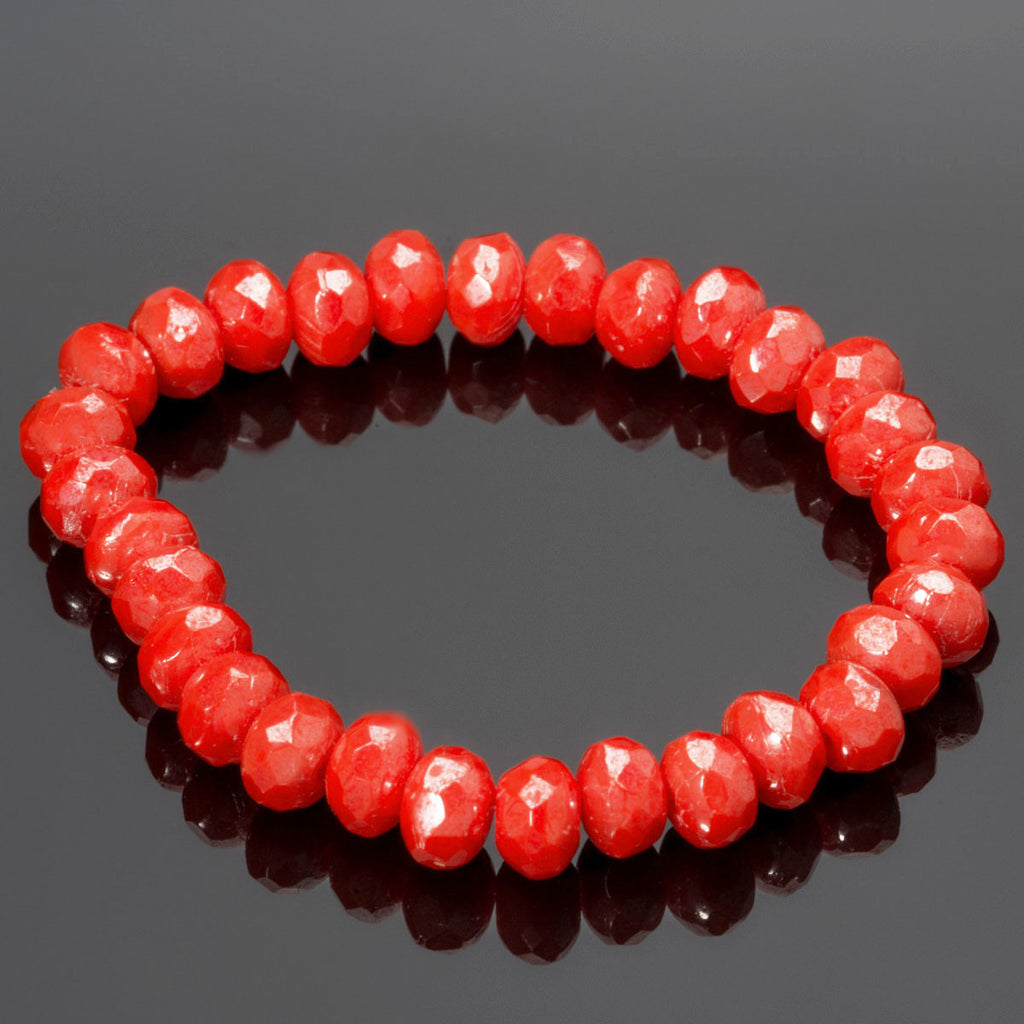 30 Bright coral luster Czech glass firepolished rondelles, 5 x 3mm