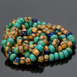 21 inches 4/0 Jade turquoise striped Picasso mix seed beads, 160 beads