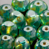CLEARANCE 20 Aqua Picasso Czech glass rondelle quadries, 8 x 6mm