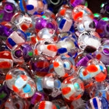 CLEARANCE 20 Grams 6/0 Czech glass striped multi color white, blue or purple heart rocaille seed beads