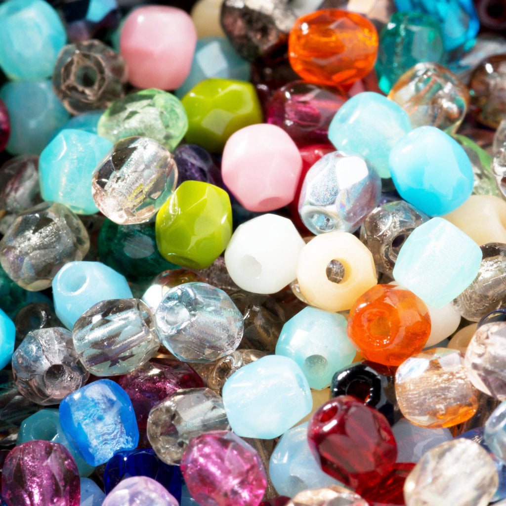 3 Grams or 100 beads, Transparent, opal & opaque Czech firepolished mix, 3mm