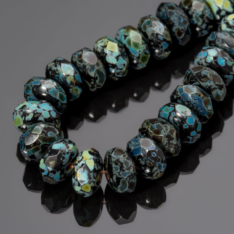 70 Jet Black Picasso Gemstone Donut Rondelle, 7 x 5mm