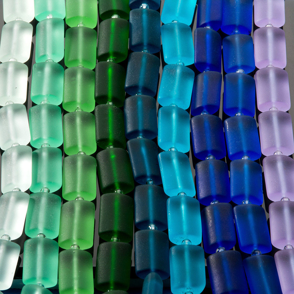 CLEARANCE 12 Sea glass Royal blue rectangle pillow beads, 14 x 10mm