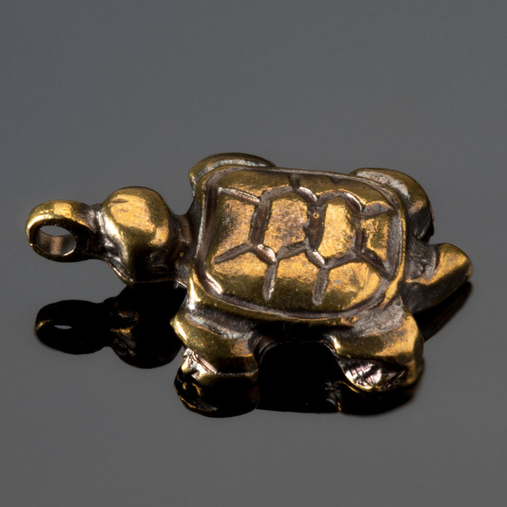 Cast Sea swim turtle charm, Antique Brass, 24 x 16mm