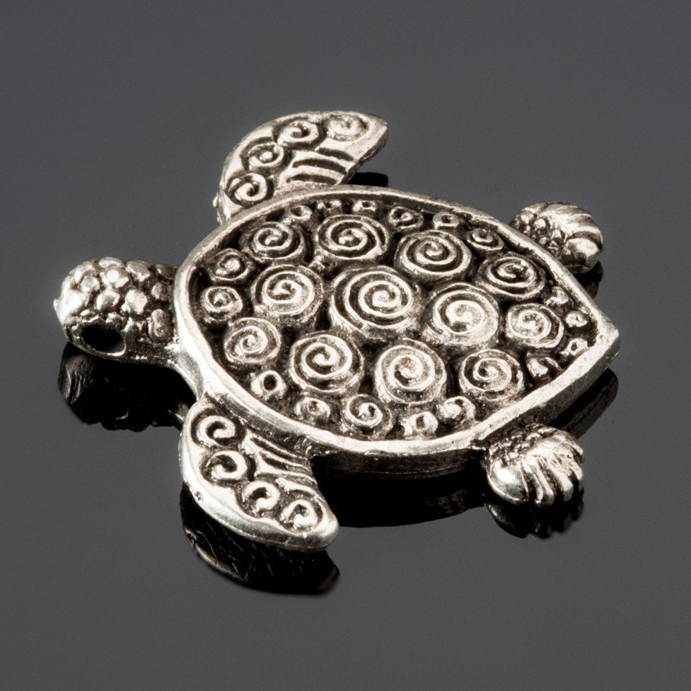 Cast antique silver turtle pendant, 29 x 5mm