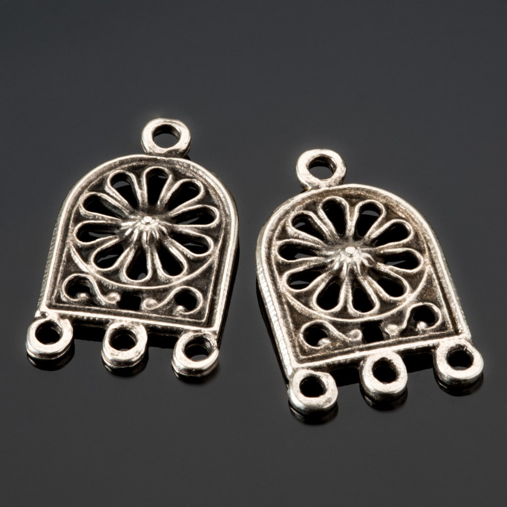 2 Ornate earring pendants, antique silver, 26 x 15mm