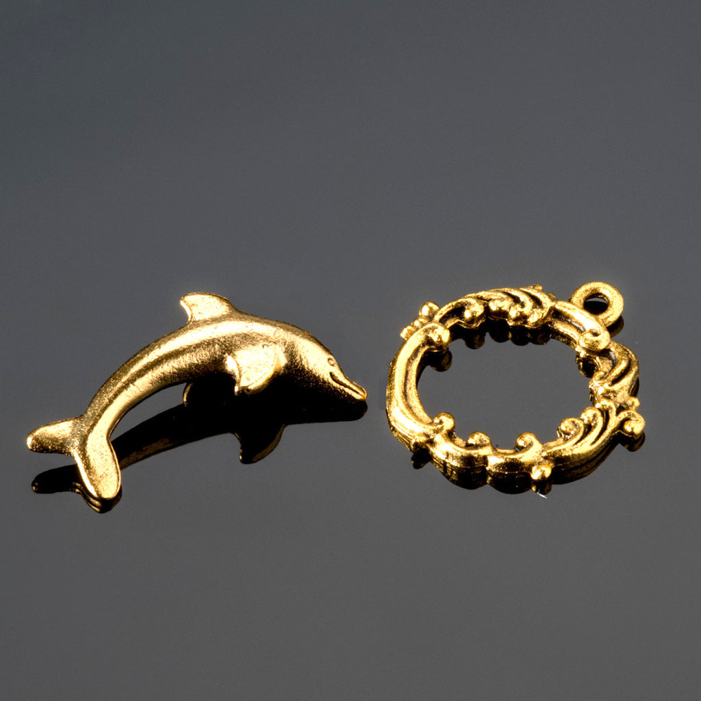 Gold pewter dolphin wave toggle clasp, 22 x 18mm