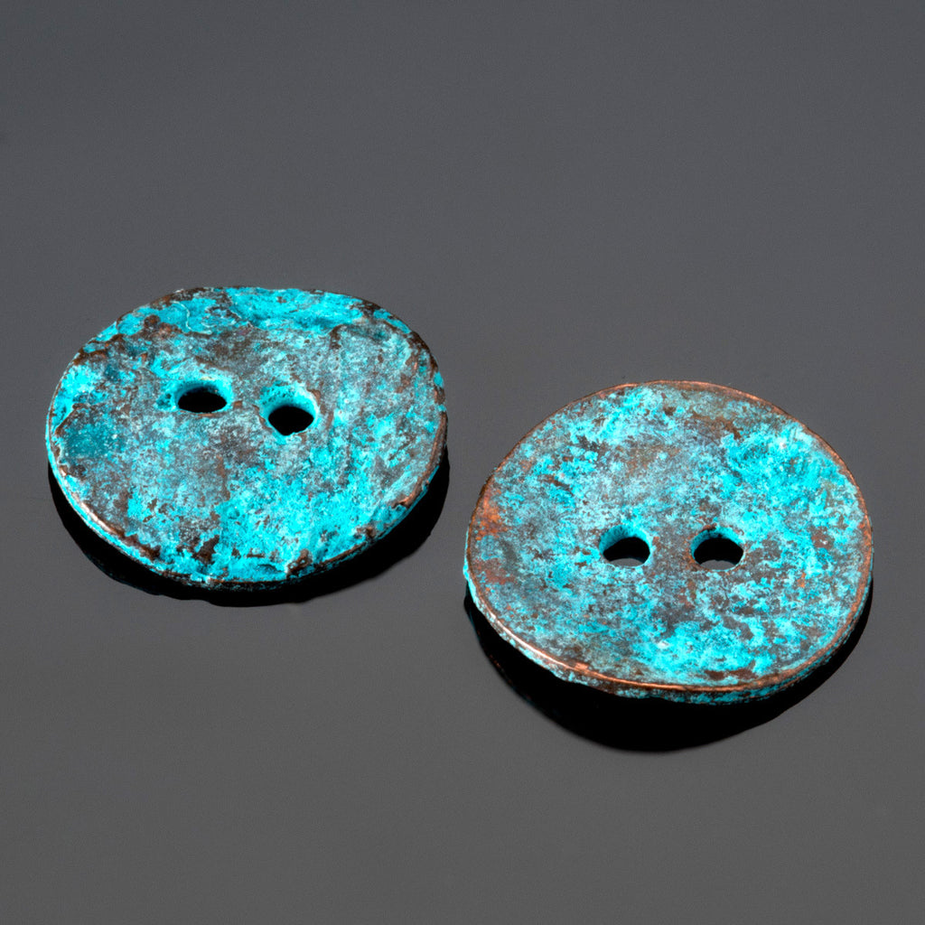 2 Green patina casting cornflake buttons, 15mm, 2mm holes