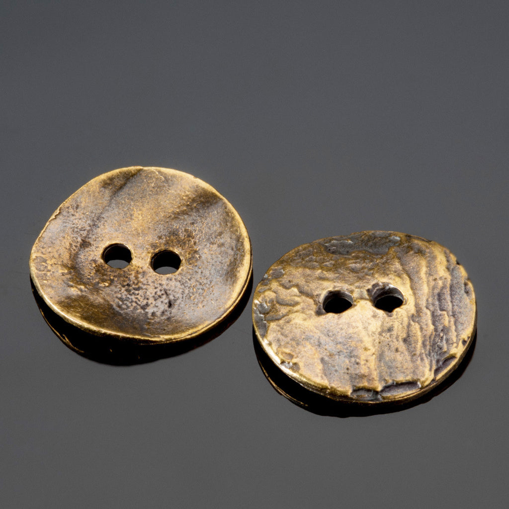 2 Antique brass plated casting cornflake buttons, 15mm, 2mm holes