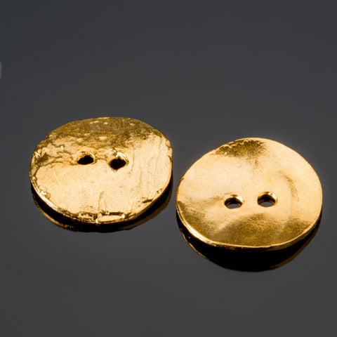 2 Gold 24K plated casting cornflake buttons, 15mm, 2mm holes