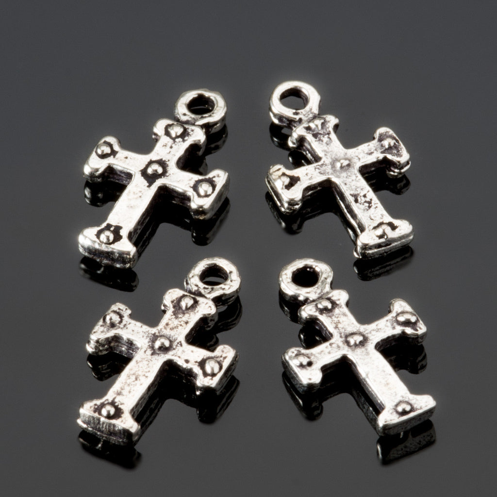 4 Cast antique silver tiny cross charms dangles, 16 x 10mm