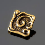 One JBB antique brass swirl square button, 11.5mm, 2mm hole