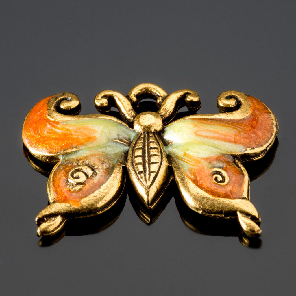 Hand-enameled tangerine lead-free gold pewter metal butterfly charm, 23 x 28mm