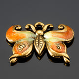 CLEARANCE Hand-enameled tangerine lead-free gold pewter metal butterfly charm, 23 x 28mm