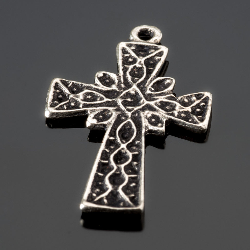 4 Cast etched antique silver lightweight cross charms or pendants, 25 x 17mm