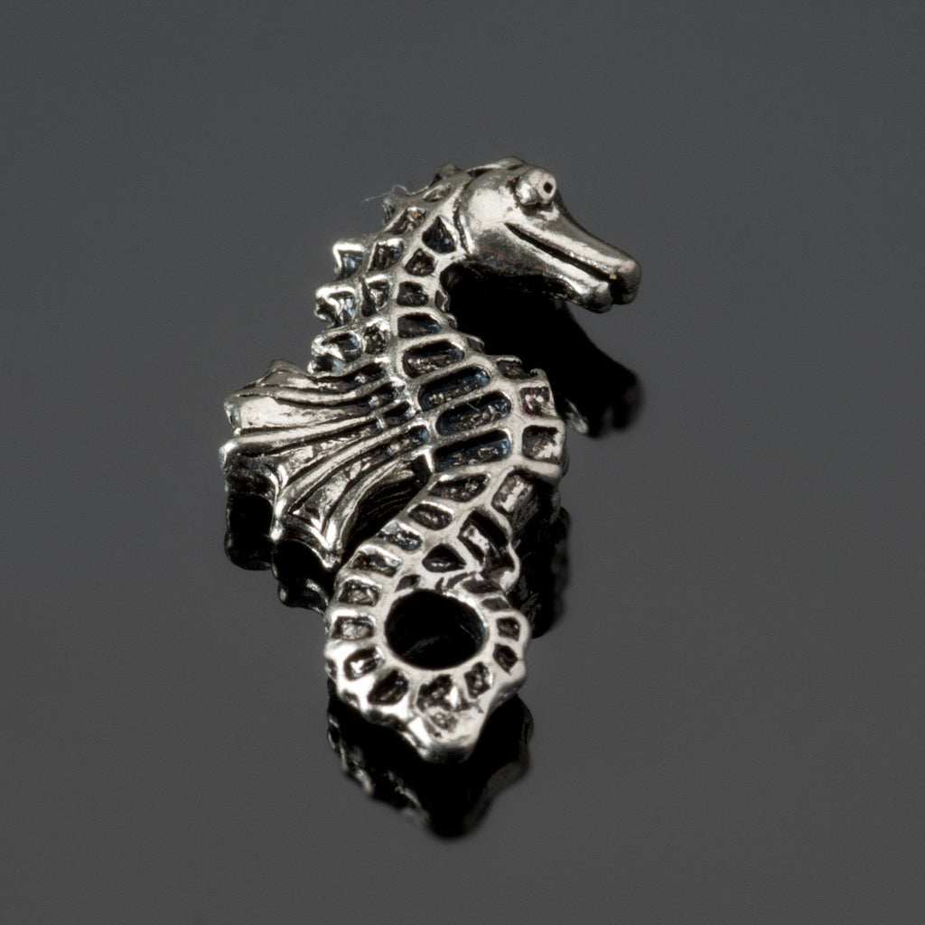 Antique pewter double sided seahorse bead, 20 x 12mm