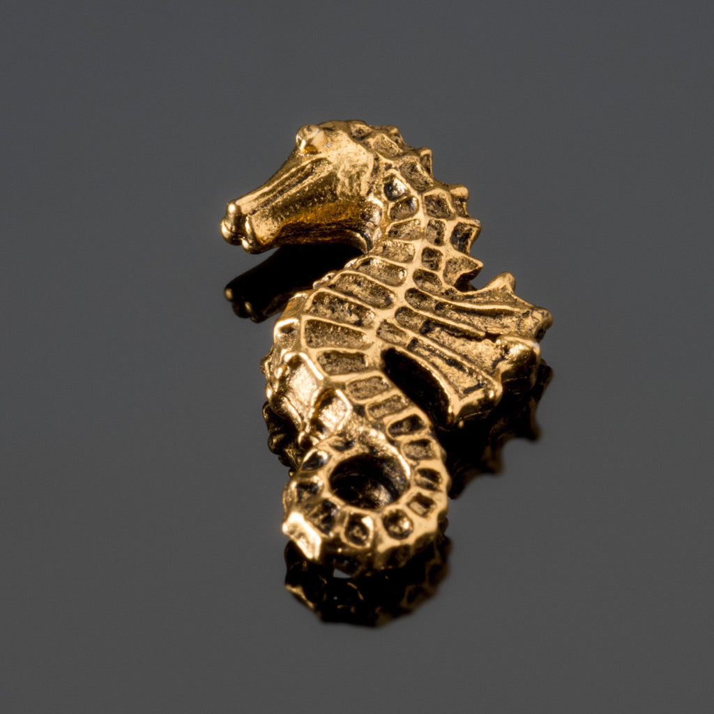 Antique gold pewter double sided seahorse bead, 20 x 12mm