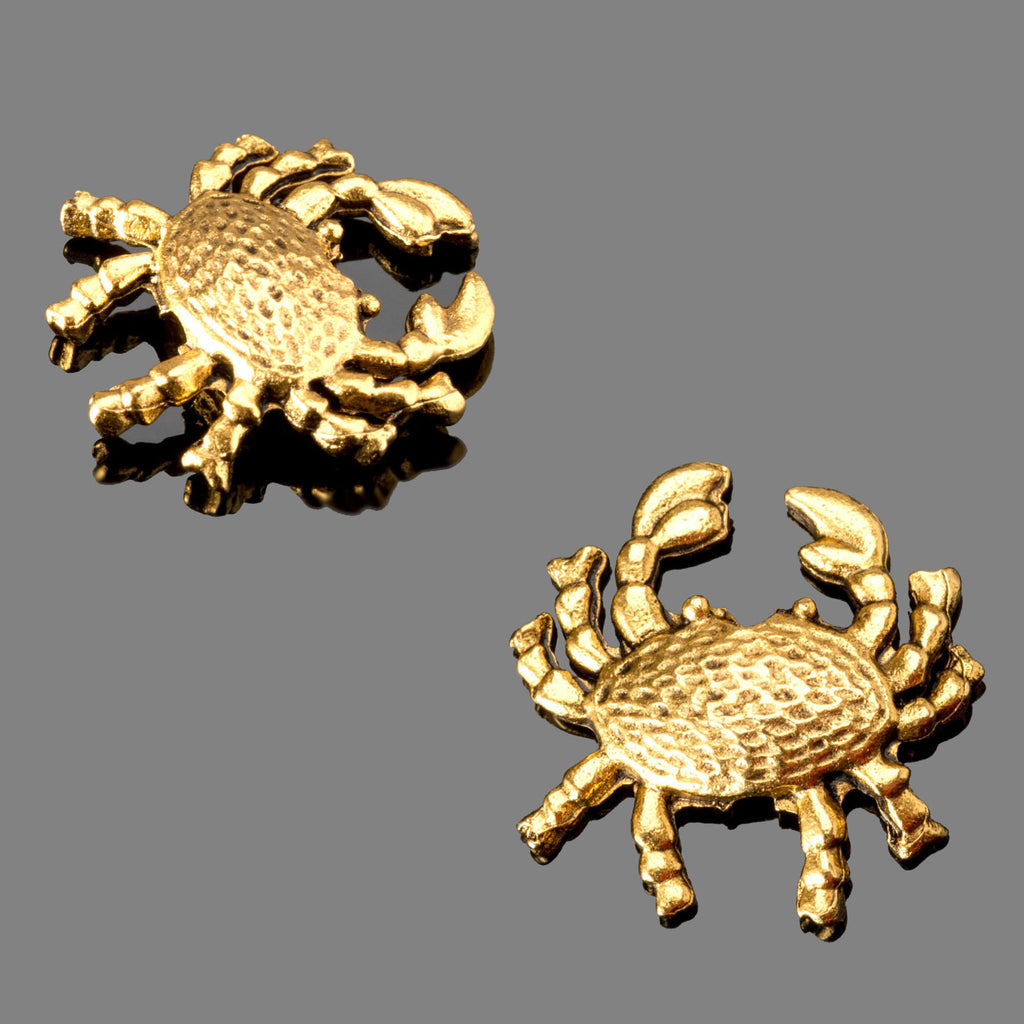 1 Antique gold pewter crab beads, 15 x 4mm