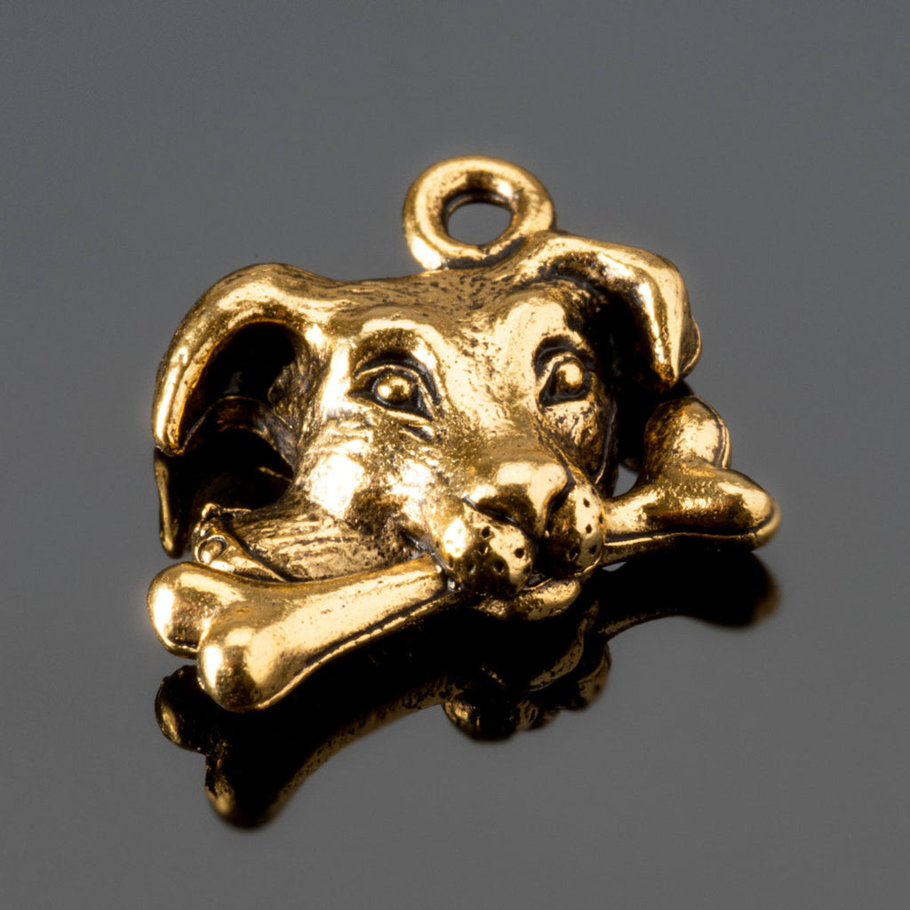 Dog with bone lead-free gold pewter, 15.5mm