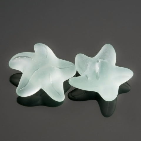 2 Cultured recycled sea glass starfish buttons, 20 x 8mm, Light aqua coke bottle