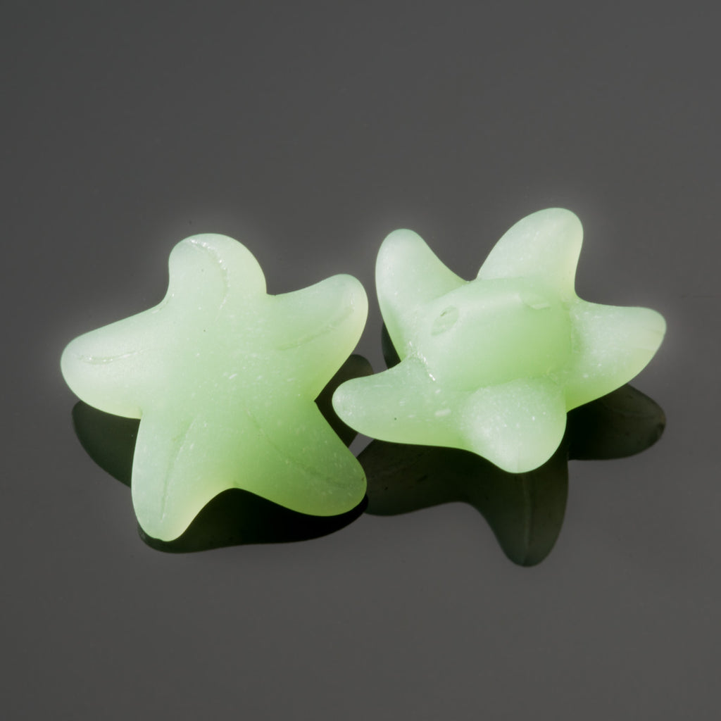 2 Cultured Faux Sea Glass Starfish Pendants or Buttons, Seafoam, 20 x 8mm