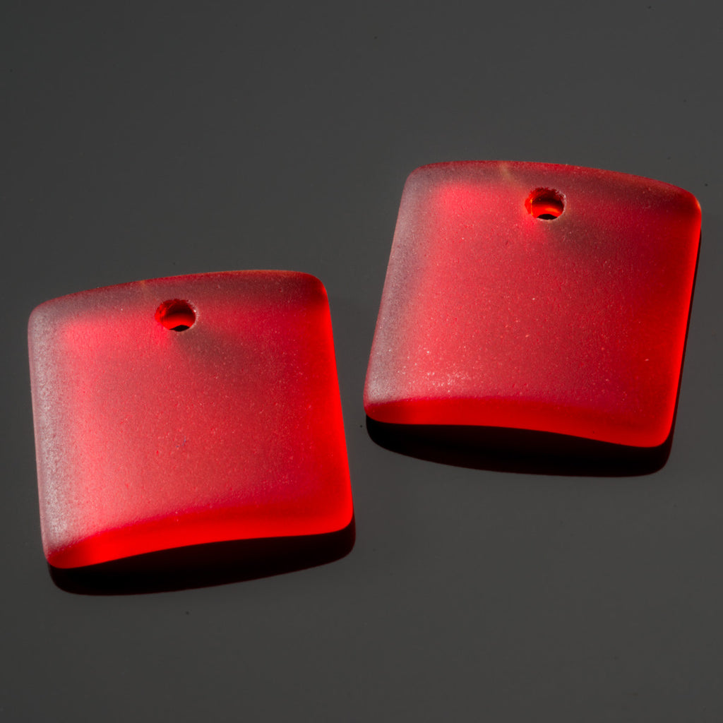 2 Cultured concave sea glass square pendants, 22mm, Cherry red