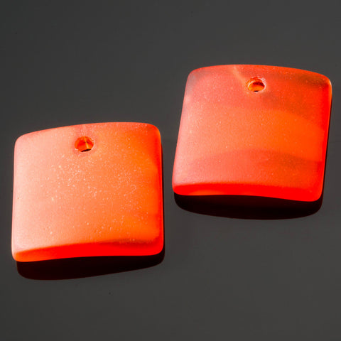 2 Cultured concave sea glass square pendants, 22mm, Tangerine