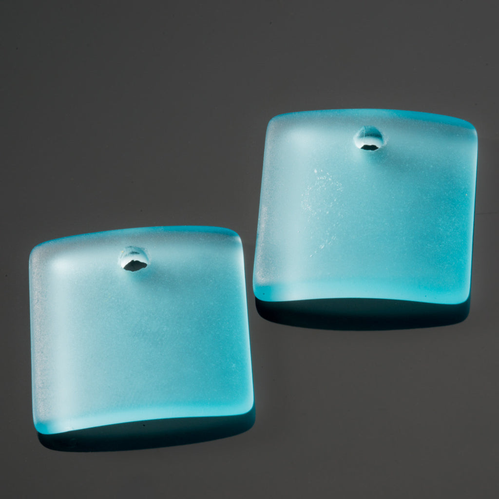 2 Cultured concave sea glass square pendants, 22mm, Turquoise bay