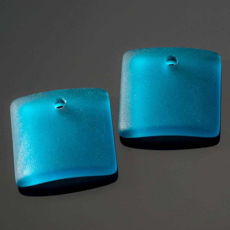 2 Cultured concave faux sea glass square pendants, 19 x 16mm, Teal