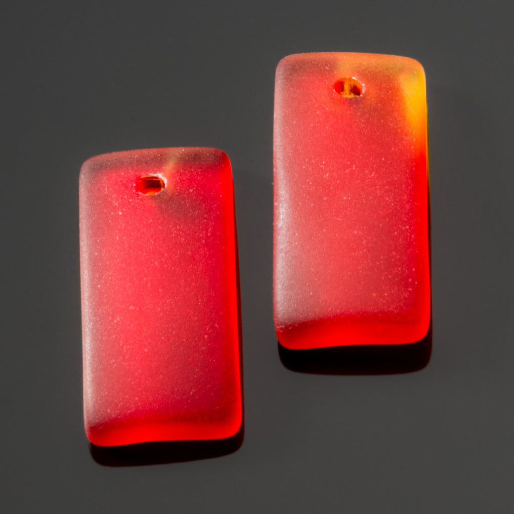 2 Cultured recycled concave sea glass rectangular pendants, 22 x 11mm, Cherry red