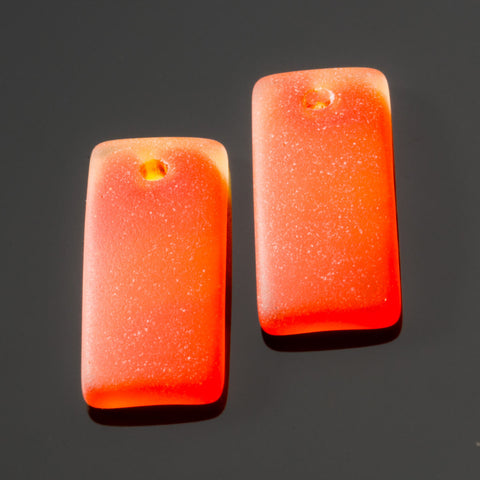 2 Cultured recycled concave sea glass rectangular pendants, 22 x 11mm, Tangerine