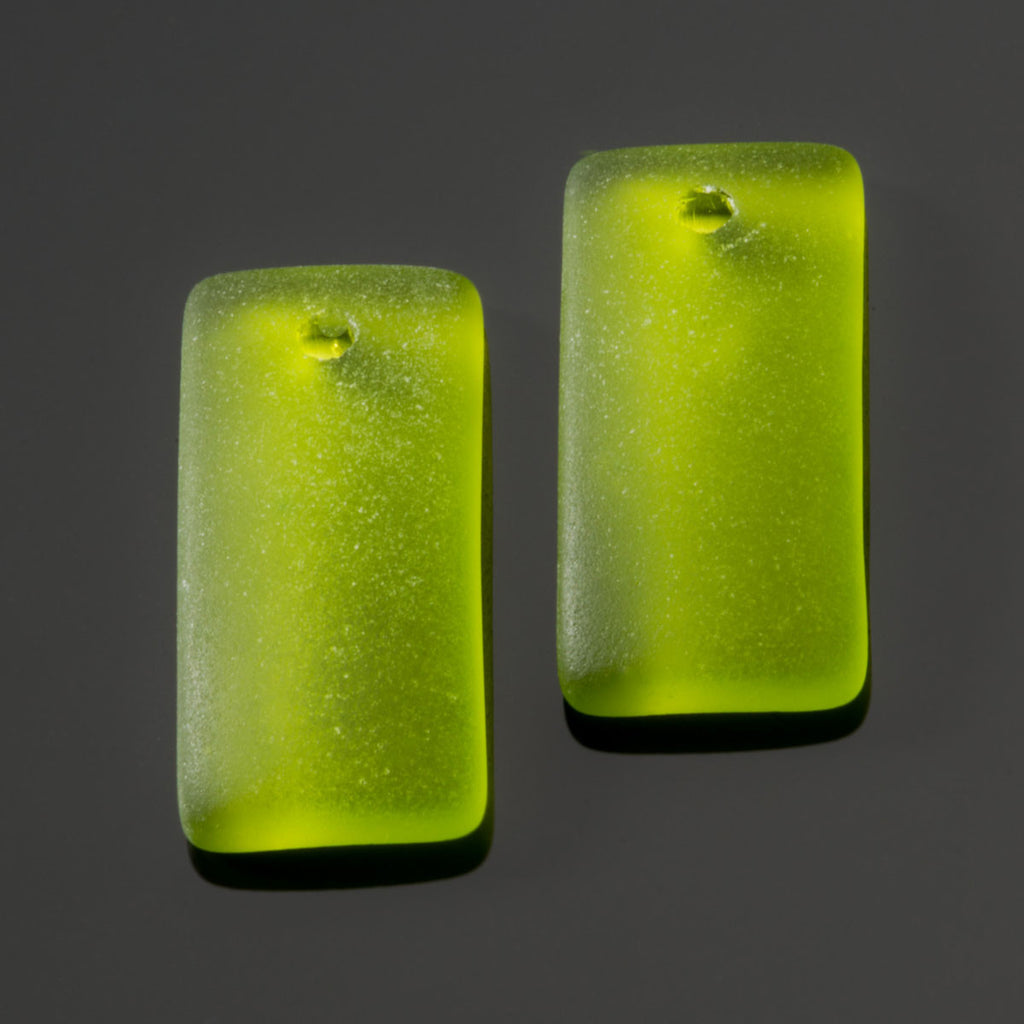 2 Cultured recycled concave sea glass rectangular pendants, 22 x 11mm, Olive green
