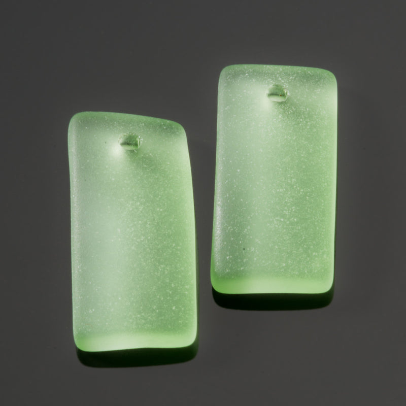 2 Cultured Sea Glass Bottle-Curved Earring Rectangle Pendants, 22 x 11mm, Peridot