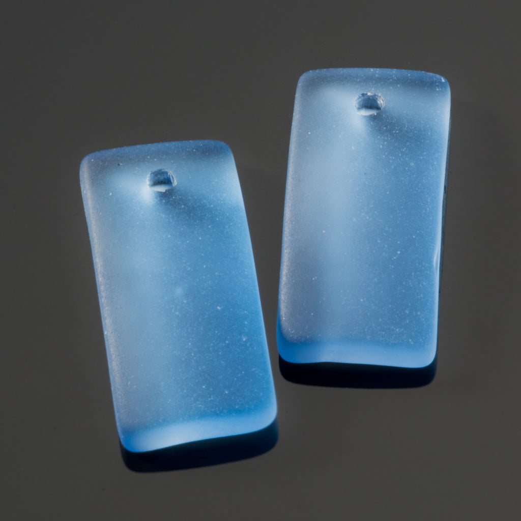 2 Cultured recycled concave sea glass rectangular pendants, 22 x 11mm, Light sapphire