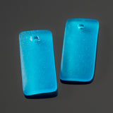 2 Cultured recycled concave sea glass rectangular pendants, 22 x 11mm, Pacific blue