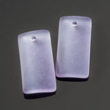 2 Cultured recycled concave sea glass rectangular pendants, 22 x 11mm, Periwinkle