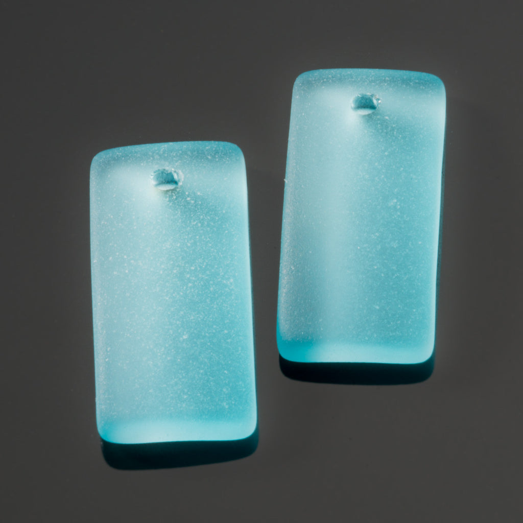 2 Cultured recycled concave sea glass rectangular pendants, 22 x 11mm, Turquoise bay
