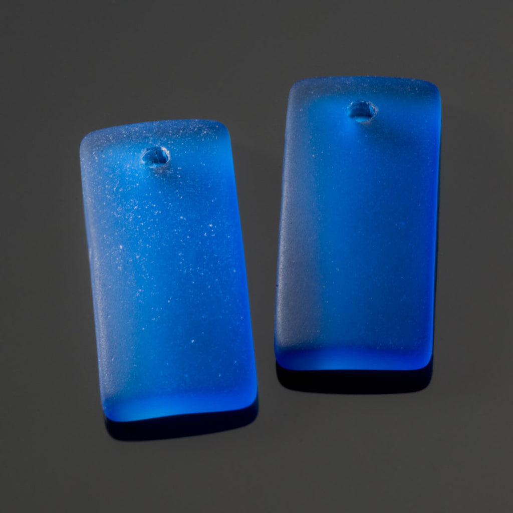 2 Cultured recycled concave sea glass rectangular pendants, 22 x 11mm, Royal blue