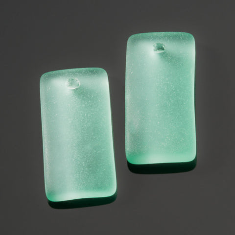 2 Cultured recycled concave sea glass rectangular pendants, 22 x 11mm, Seafoam green