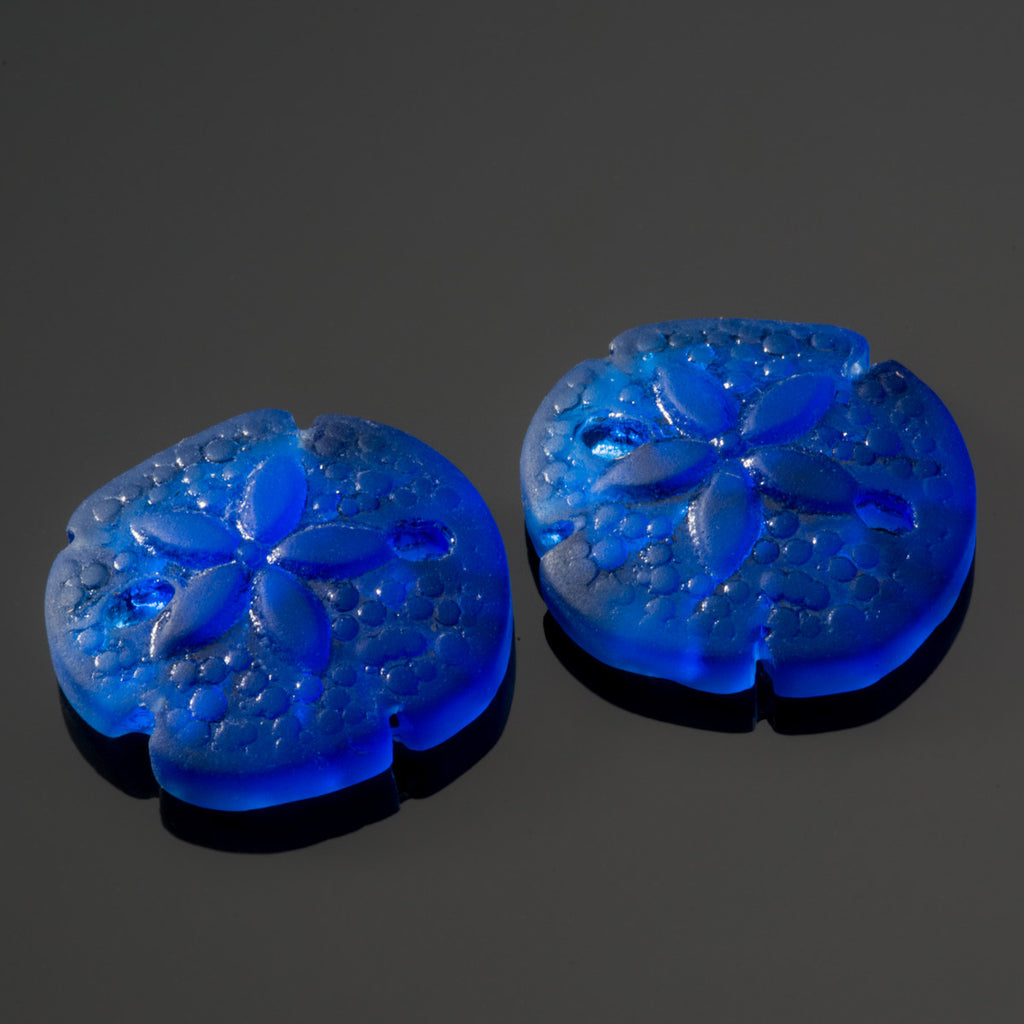 2 Cultured recycled sea glass sand dollar pendants, 18 x 20mm beads, Royal blue