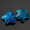 2 Cultured Faux Sea Glass Top Side Drilled Starfish Pendants, Teal, 20 x 7mm