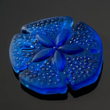 Large Sand Dollar pendant recycled etched sea glass, 39 x 37mm, Royal blue