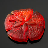 Large Sand Dollar pendant recycled etched sea glass, 39 x 37mm, Cherry red