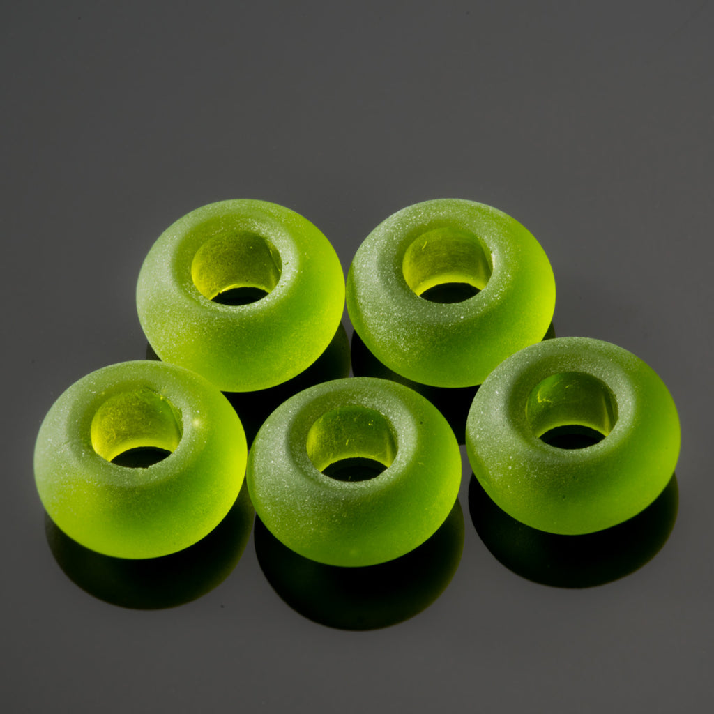 5 Cultured sea glass large 5mm hole rondelle beads, 14 x 10mm, Olive green