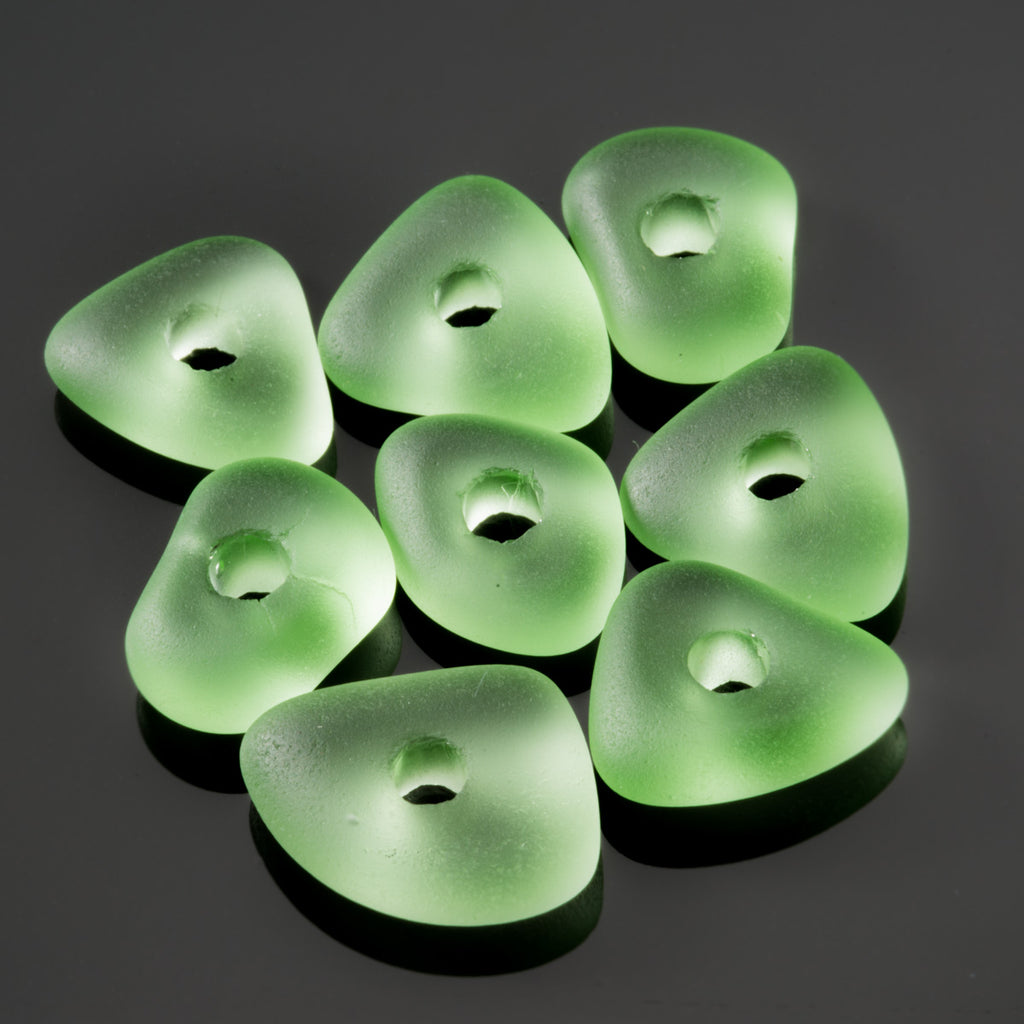 8 Large 3mm Hole Cultured Faux Sea Glass Pebble Beads, 14 x 5mm, Peridot